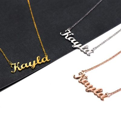 """Kayla - Copper/925 Sterling silver Personalized Any Name Choker Necklace Adjustable 16""""-20"""" Yellow Gold Plated"""