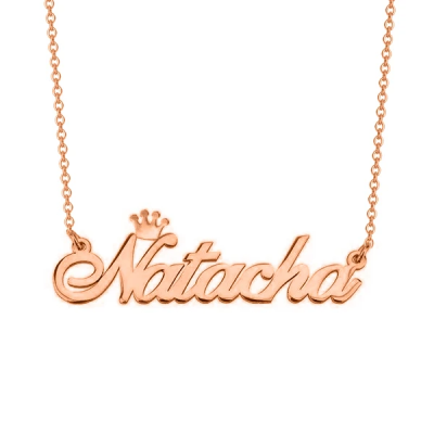 """Natacha - 925 Sterling Silver/10K/14K/18K Personalized Name Necklace with Crown Adjustable 16""""-20"""""""