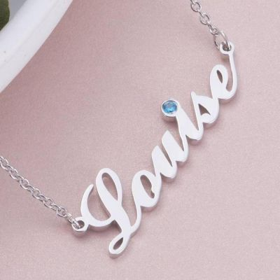 """Louise - Copper/925 Sterling Silver/10K/14K/18K Personalized Name Necklace with Birthstone Adjustable 16""""-20"""""""