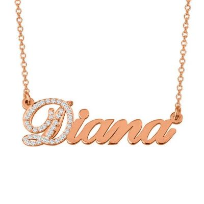 "Diana - Personalized Cubic Zirconia Initial Name Necklace Adjustable Chain 16""-20"
