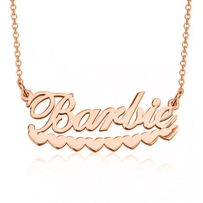 """Barlie - Personalized Barbie Hearts Name Necklace Adjustable Chain 16""""-20"""