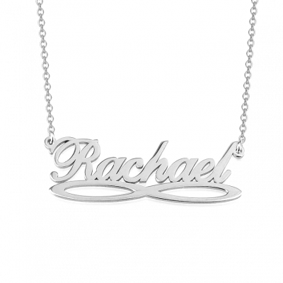 """Rachael - 925 Sterling Silver Personalized Infinity Underline Names Necklace Adjustable Chain 16""""-20"""