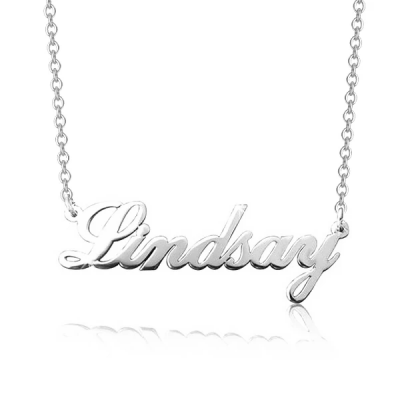 "Lindsay - Personalized Classic Cursive Name Necklace Adjustable 16""-20"""