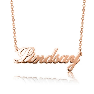 "Lindsay - 925 Sterling Silver Personalized Classic Cursive Name Necklace Adjustable 16""-20"""