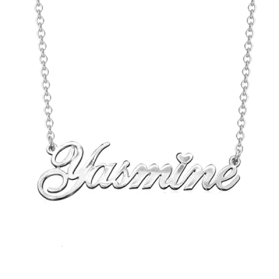 "Yasmine - Personalized Classic Cursive Heart Name Necklace Adjustable 16""-20"""