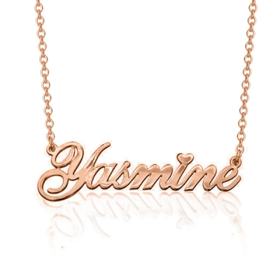 "Yasmine - 925 Sterling Silver Personalized Classic Cursive Heart Name Necklace Adjustable 16""-20"""