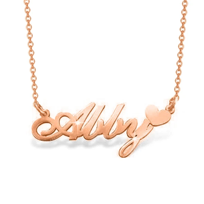 "Ally - 925 Sterling Silver Personalized Name Necklace With Heart Adjustable 16""-20"""