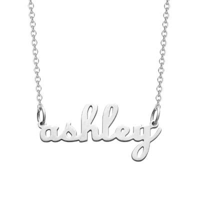 925 Sterling Silver Personalized Lowercase Script Name Necklace Adjustable Chain 16
