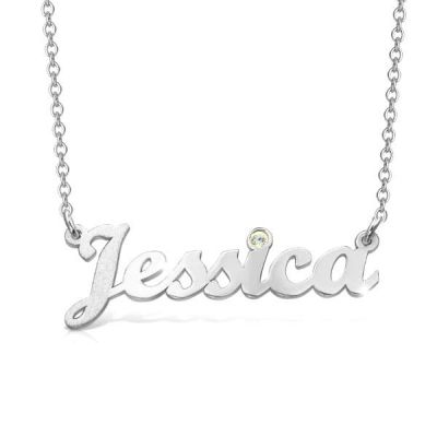"Personalized Birthstone Cursive Name Necklace Adjustable 16""-20"""
