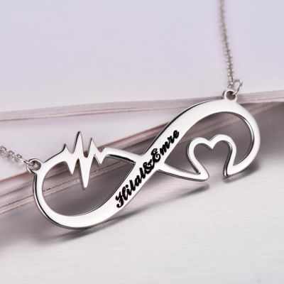 "Personalized Infinity Heart Rate Name Necklace Adjustable 16""-20"""