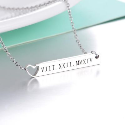 """Copper/925 Sterling Silver Personalized Heart Engravable Bar Necklace Adjustable 16""""-20"""""""