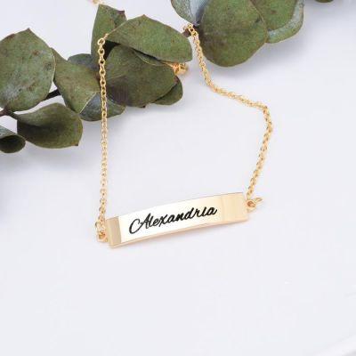 """Copper/925 Sterling Silver Personalized Name Bar Bracelet Length Adjustable 6""""-7.5"""""""