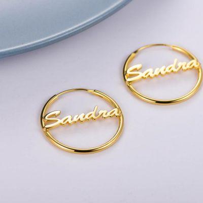 Copper Personalized Simple Hoop Name Earrings