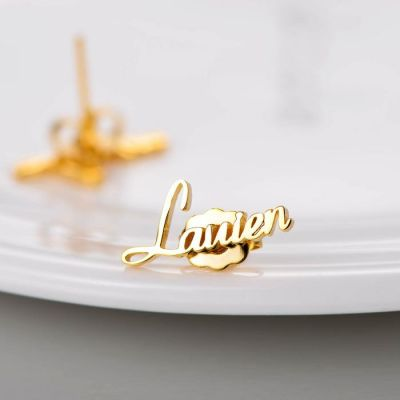 Copper/925 Sterling Silver Personalized Name Earring