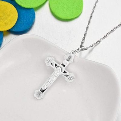 Jesus Christ Cross Necklace Sterling Silver Crucifix Cross Catholic Necklace Singapore Chain 18''