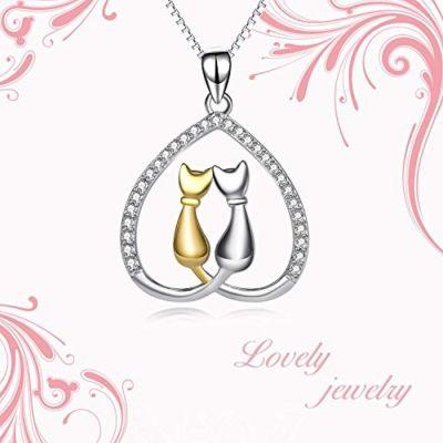 Jewelry 925 Sterling Silver Two-Tone Eternal Love Heart Pet Cat Pendant Necklace