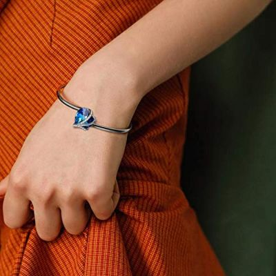 Love Heart Adjustable Bangle Bracelets-Blue Purple Crystals from Swarovski I Love You Bracelet Hypoallergenic