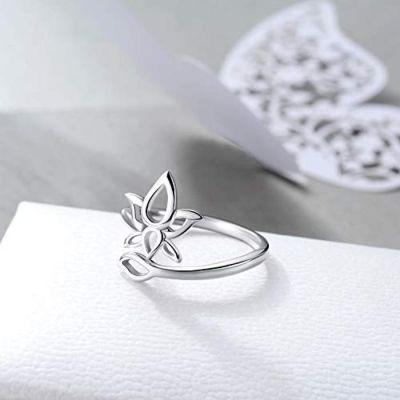 Sterling Silver Cubic Zirconial Lotus Flower Rings