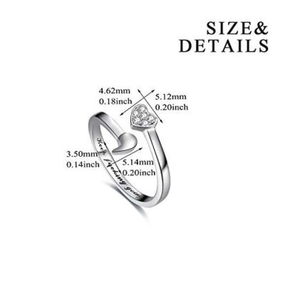 925 Sterling Silver Ring Keep Going Semicolon Ring Inspirational Ring Size for 8# 9# 10#