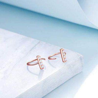 Bar Huggie Earrings Sterling Silver Ear Hoop Body Piecing Nose Rings Earrings Jewelry Gifts