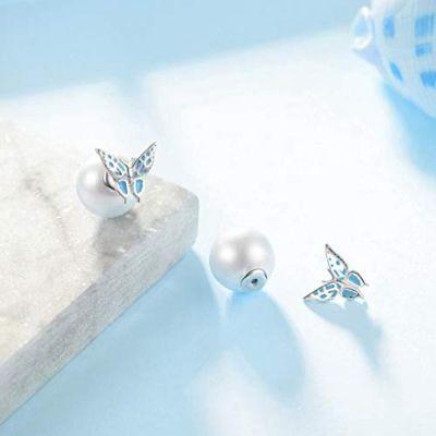 Butterfly Earrings Sterling Silver Pearl Double Sided Balls Stud Earrings