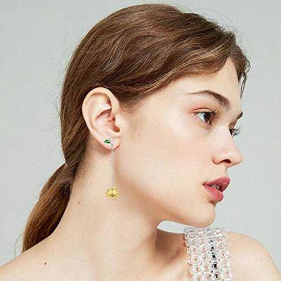 Dangle Drop Long Earrings Sterling Silver Sunflower Leaf Hypoallergenic Earrings