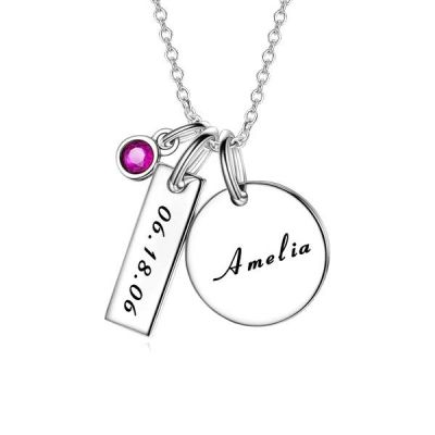 "Personalized Engravable Necklace With Birthstone Adjustable 16""-20"""