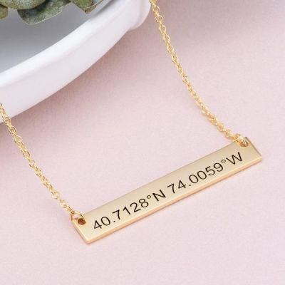 "Personalized Coordinates Bar Necklace Adjustable 16""-20"""