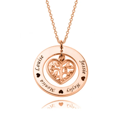 Copper/925 Sterling Silver Personalized Heart Family Tree Necklace Adjustable 16-20