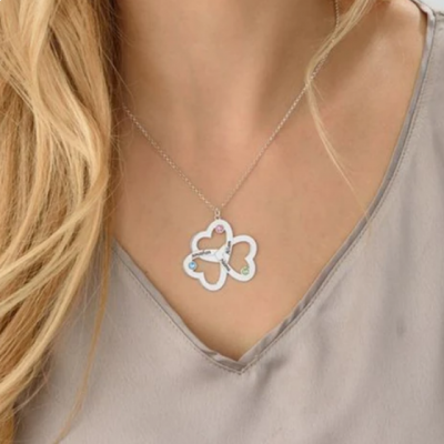 """Personalized Triple Heart Necklace Adjustable 16""""-20"""""""