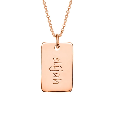 "Copper/925 Sterling Silver Personalized Engraved Rectangle Necklace -Adjustable 16""-20"""