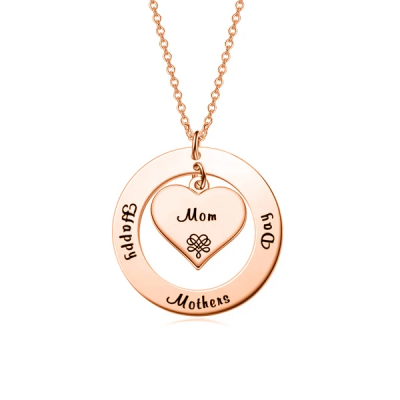 """Custom Name Necklace Personalized Jewelry Copper 925 Sterling Silver Yellow White Rose Mixed Adjustable 16""""-20"""" - Mother & Child"""