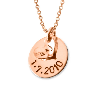 "Personalized A Date to Remember Charm Necklace Adjustable 16""-20"""