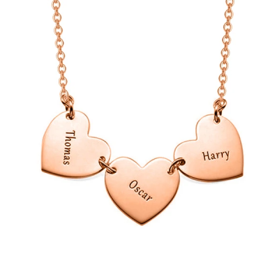 "Personalized Triple Heart Engravable Necklace Adjustable 16""-20"""