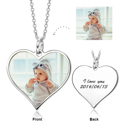 """Personalized Engraved Kids Color Photo&Text Adjustable 16""""-20""""- 925 Sterling Silver"""