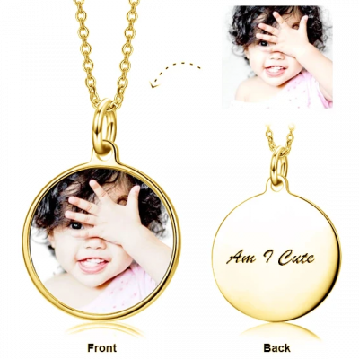 Copper/ 925 Sterling Silver Children's-Personalization Kids Color Photo Necklace