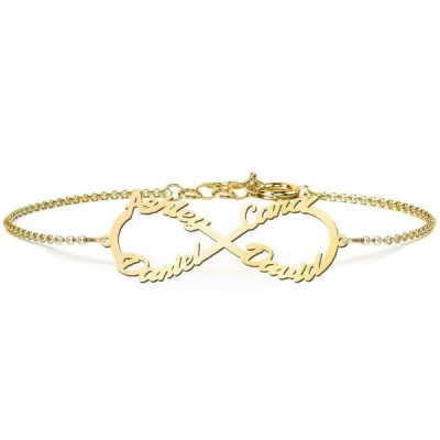 """Copper/925 Sterling Silver Personalized Love 4 Name Infinity Bracelet  Length Adjustable 6""""-7.5"""""""