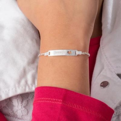 """925 Sterling Silver Personalized Bar Bracelet Adjustable 6""""-7.5"""""""
