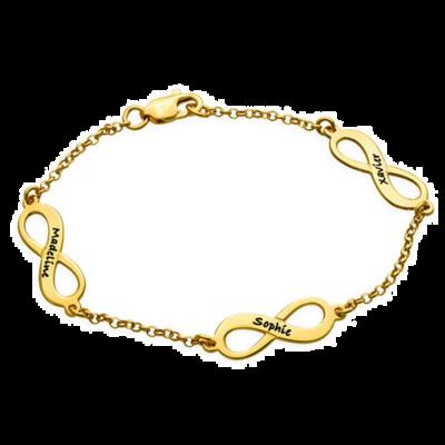 "Personalized 925 Sterling Silver Multiple Infinity Engraved Bracelets Adjustable 6""-7.5"""