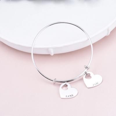 "Personalized Adjustable Double Heart Name Bangle Adjustable 6""-7.5"""