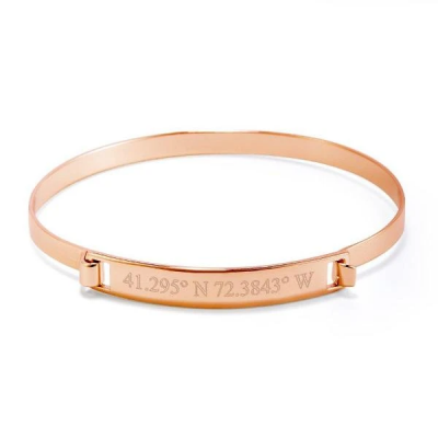 Copper/925 Sterling Silver Personalized Coordinate Engraved Bangle