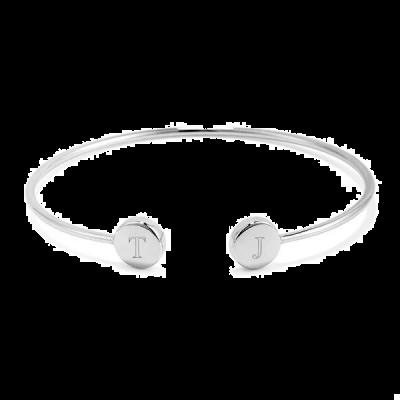 925 Sterling Silver Personalized Engravable Double Signet Cuff Bracelet
