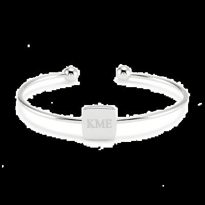 925 Sterling Silver Personalized Monogram Square Cuff