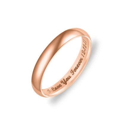Personalized Low Dome Engraved Ring