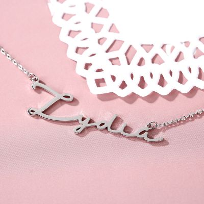 "Lydia - Signature Style Copper/925 Sterling Silver Personalized Name Necklace Adjustable 16""-20"""