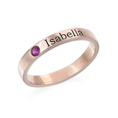Personalized Birthstone Engraved Ring