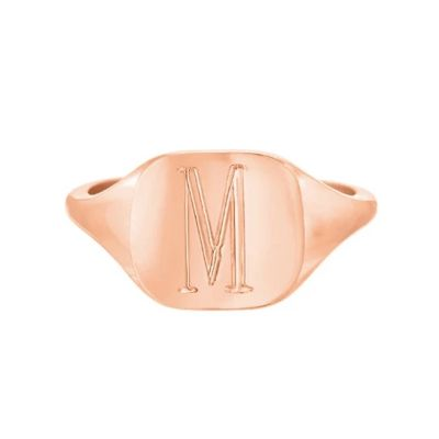 Personalized Letter Square Signet Ring