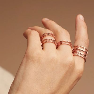 Copper/925 Sterling Silver Personalized Name Ring