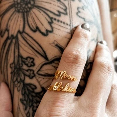 Personalized Dainty Double Name Ring