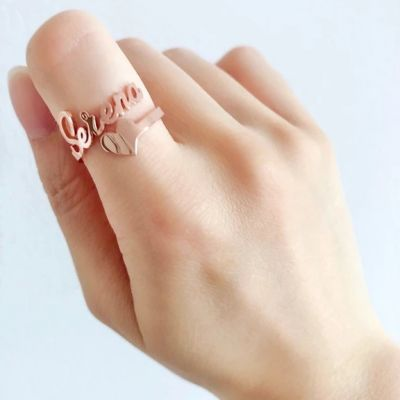 Personalized Script Letters Name Ring with Heart